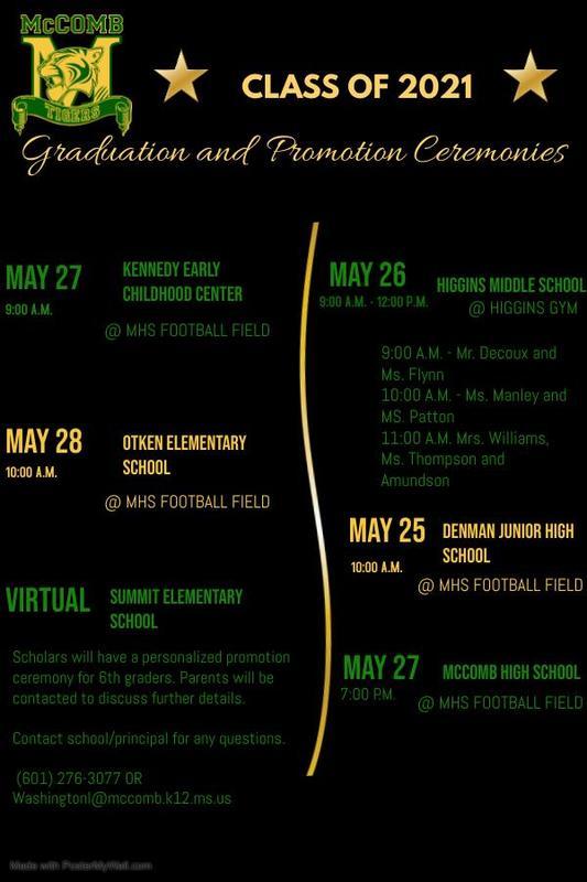 McComb School District Graduation and Promotion Ceremony Dates 2021