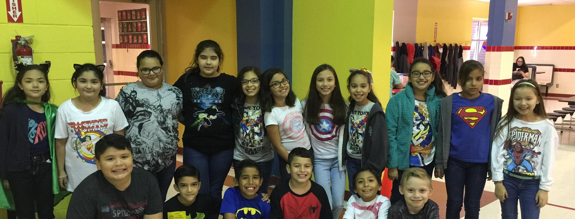 group of students on superhero day of red ribbon week