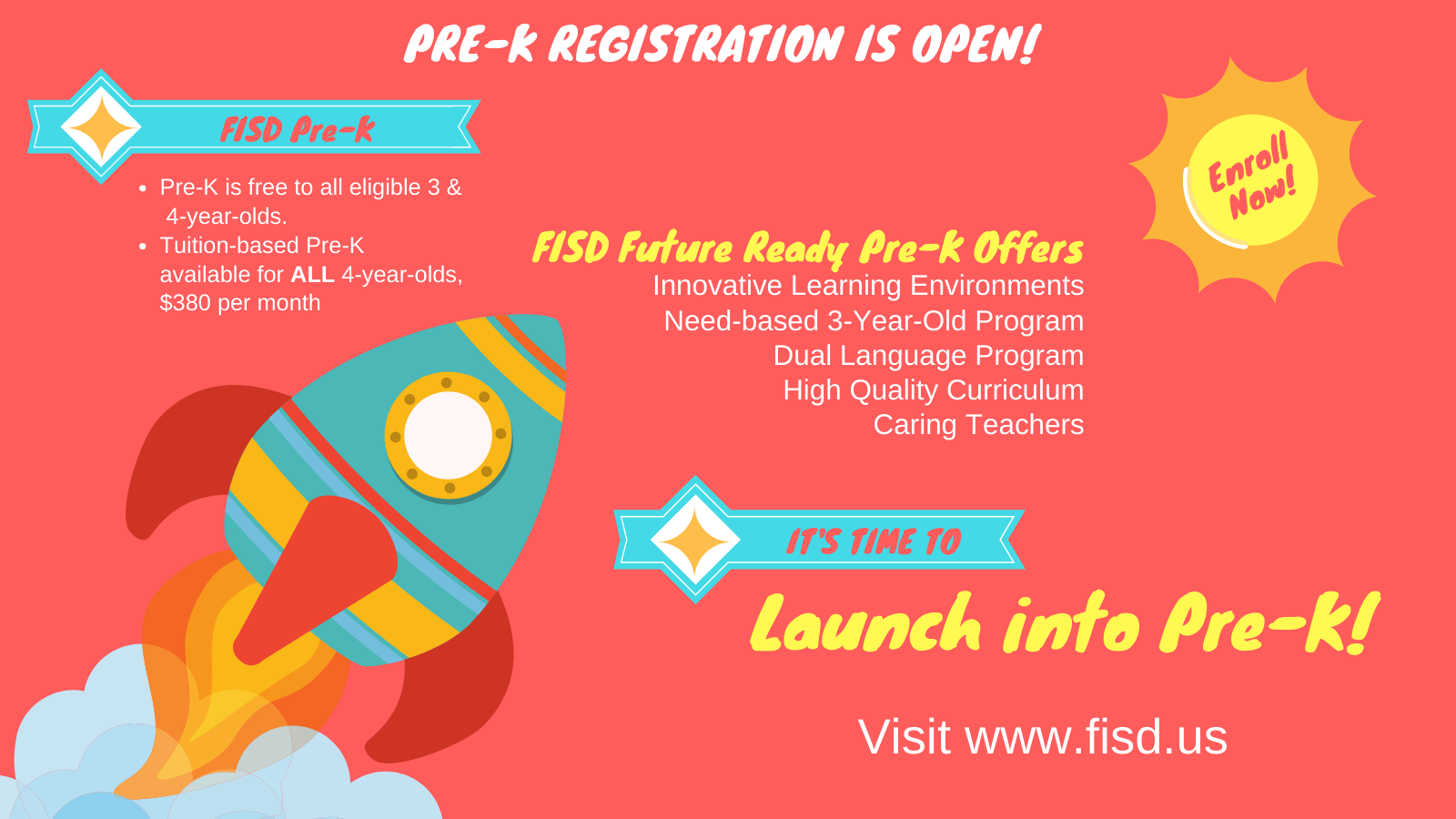 Pre K Registration Open Now Graphic with Rocket