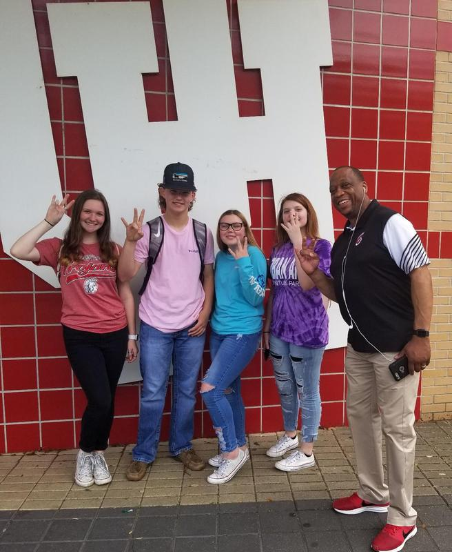 LJH Principal Frank Brown with 8th graders at UH