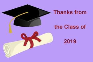 Thank you note with graduation hat and diploma