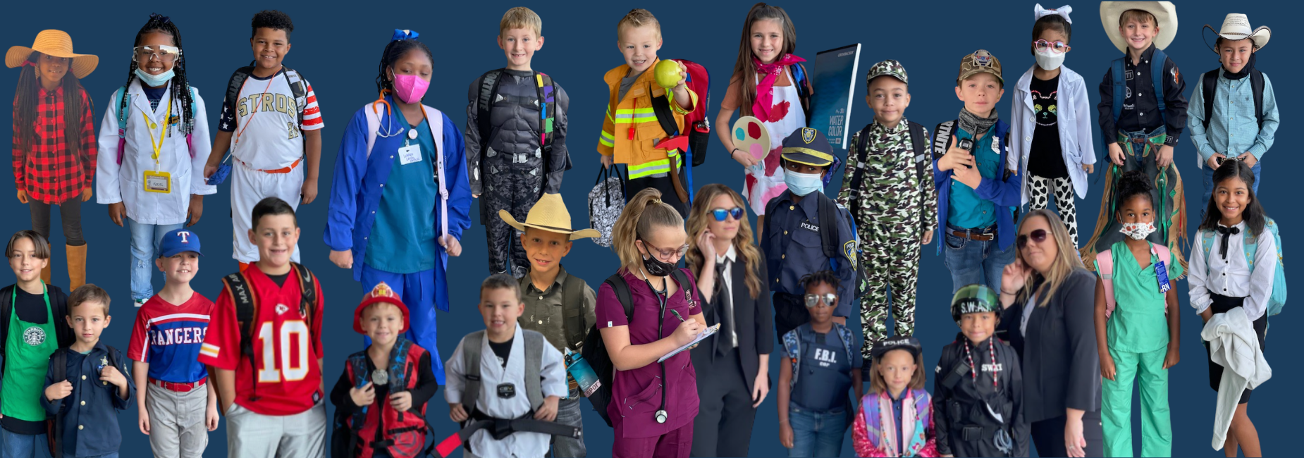 collage of kiddos dressed up for future career day