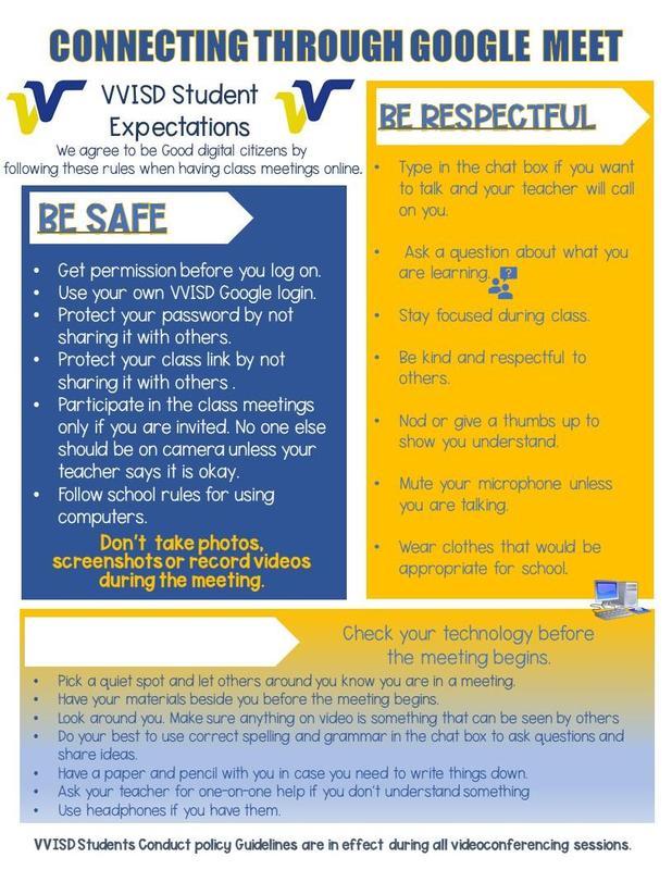 Expectativas y reglas de buena ciudadania digital para estudiantes  en cursos en linea de VVISD Thumbnail Image