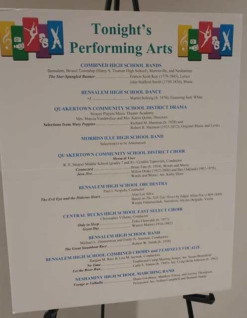 Program of performances Bucks County School District schools.