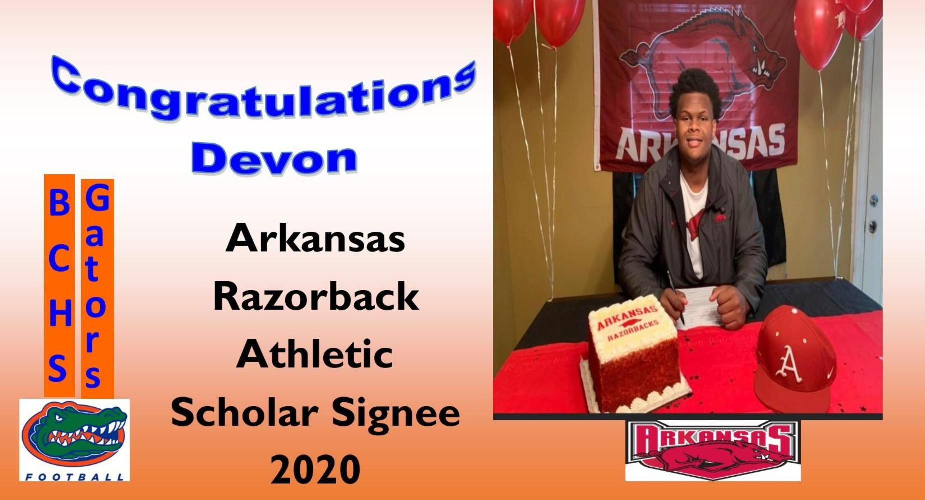 Congratulations to Devon Manuel Arkansas Razorback Scholar Signee 2020