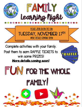 Family Learning Night - Save the Date, Nov 17 Featured Photo