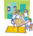 Children with disabilities in classroom illustration.