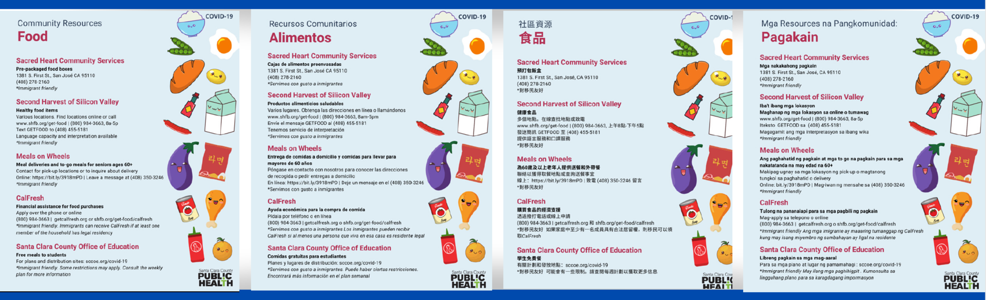 image of flyers showing food resources in santa clara county
