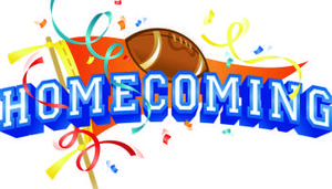 Text says Homecoming. Picture of flag, confetti and football.