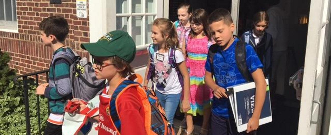 Toll Gate Grammar students leaving building on first day of school