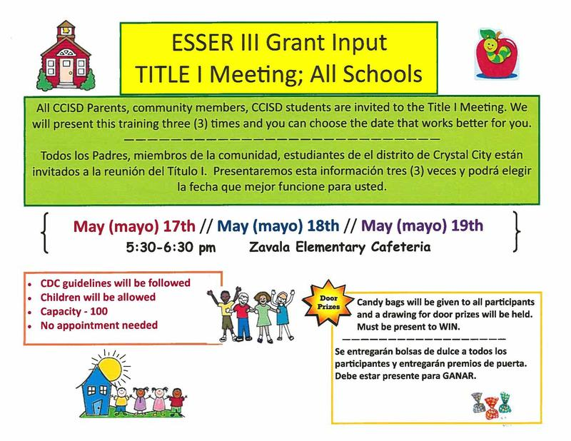 ESSER III Grant Input - Title I Meeting; All Schools Featured Photo