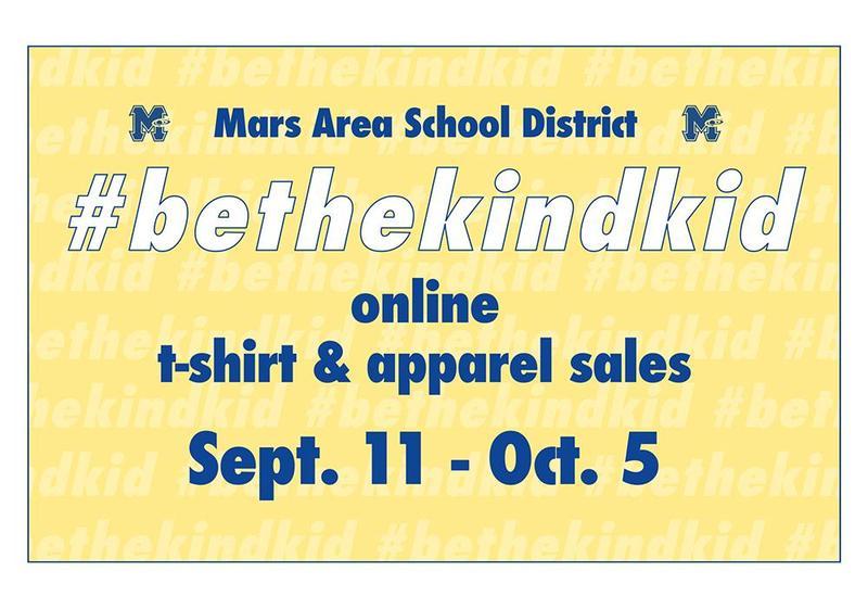 Mars Area School District #bethekindkid online t-shirt and apparel orders.
