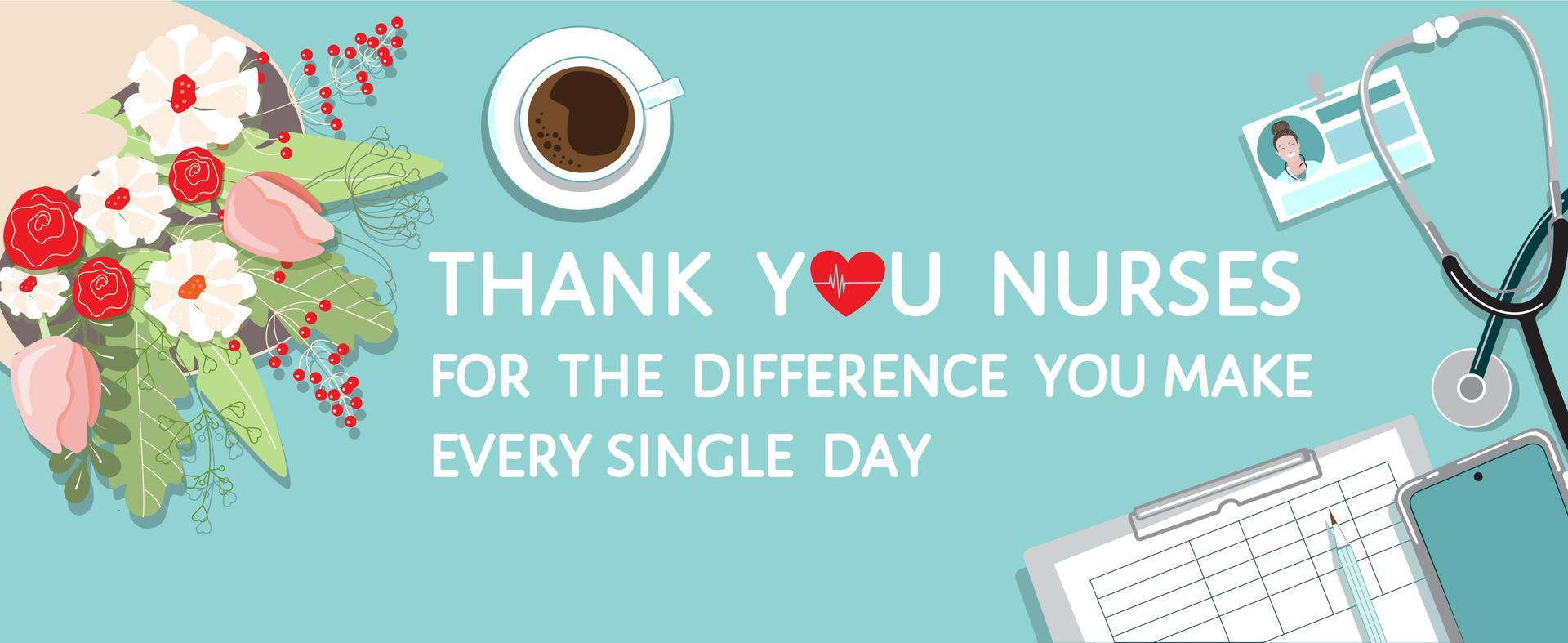 FLowers,badge, clip board Thank you Nurses