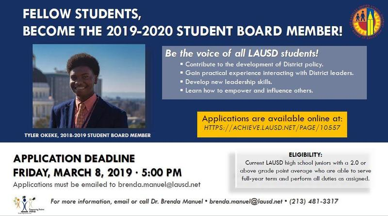 Apply to be an LAUSD Student School Board Member Featured Photo