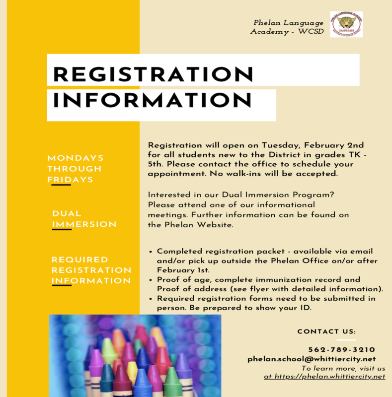 Phelan Registration Information Flyer