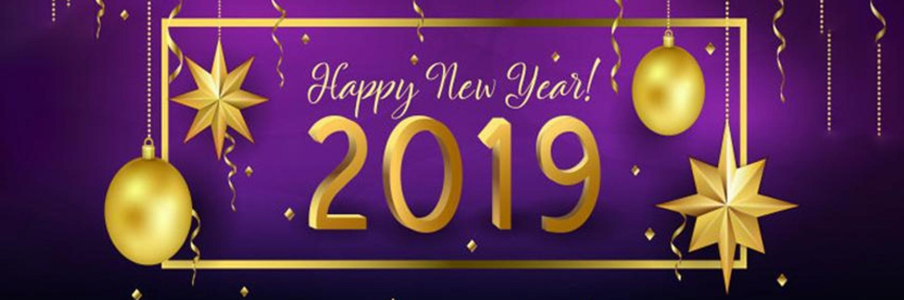 Image depicts a purple and black background with gold ornaments.  Texts reads Happy New Year 2019.
