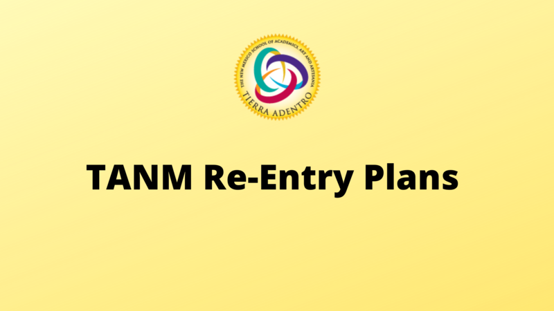 The round Tierra Adentro logo on a yellow background with text underneath that reads TANM Re-Entry Plan