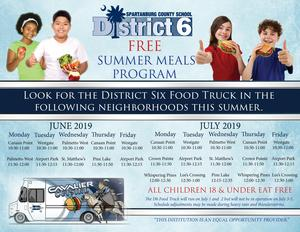 Summer meals schedule. The info is also in the body of the news story.