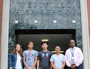 Pictured here in September with principal Dr. Derrick Nelson are 2019 National Merit Scholarship finalists (from left) Madeline Reynders, Zachary Youssef, Edward Xing, and Austin Chen who, at that time, had earned semi-finalist ranking.