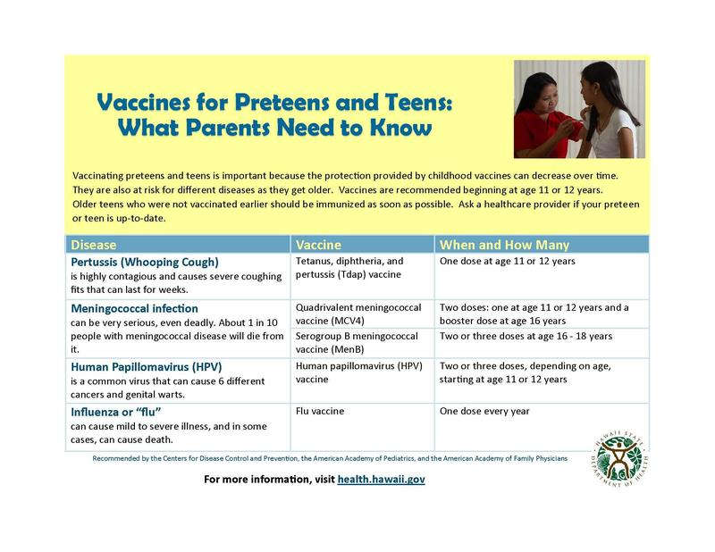 Hawaii DOH: Recommended Vaccines For Adolescents Featured Photo