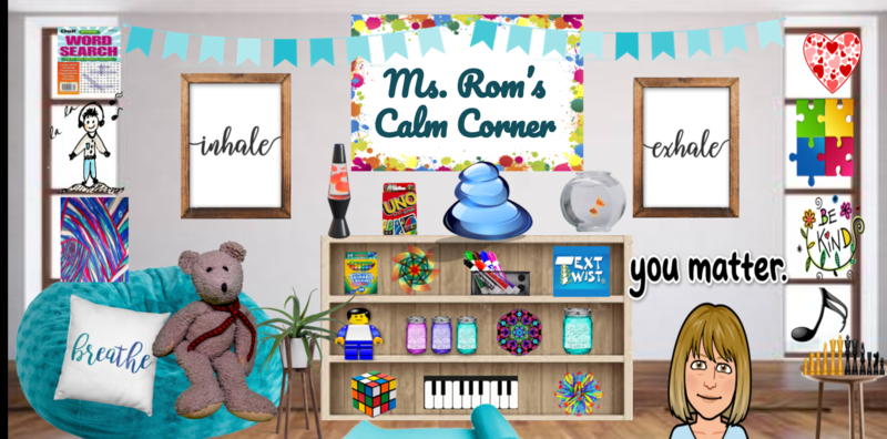 Screen shot of Ms.Rom's Calming Corner. A digital document that resembles an office with interactive displays