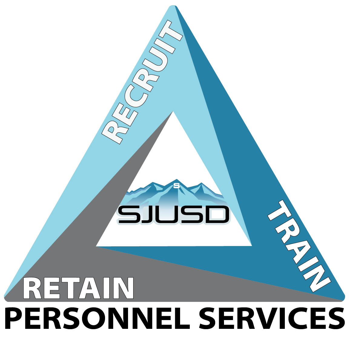 Personnel Logo - Blue Triangle with Recruit, Train and Retain