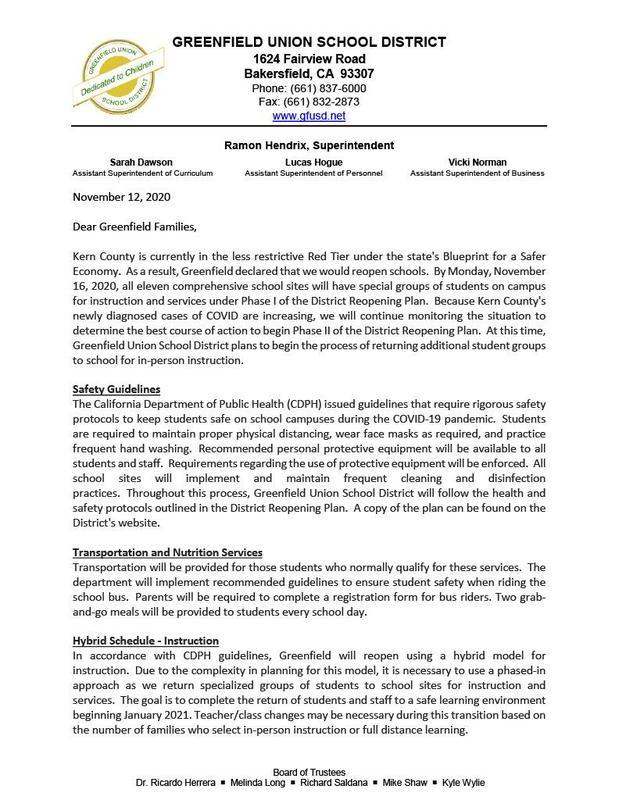 GFUSD Parent Letter 11/12/2020 Thumbnail Image