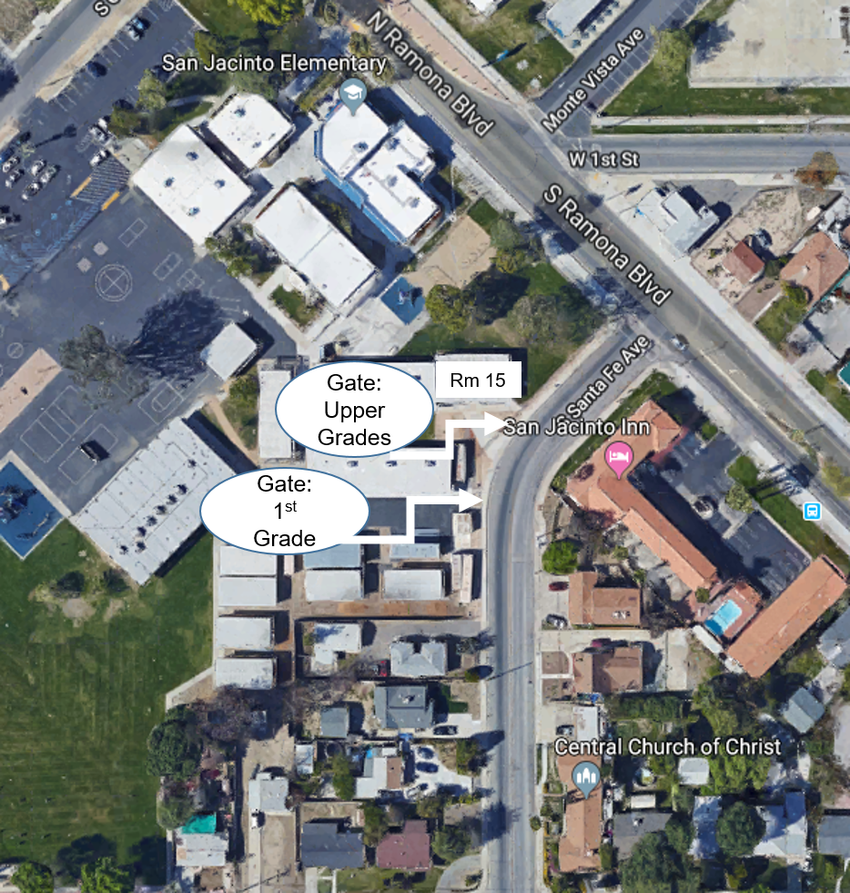 SJE campus map with S. Santa Fe Ave gates for pick-up