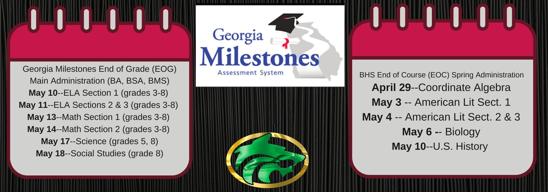 Milestones Testing Dates