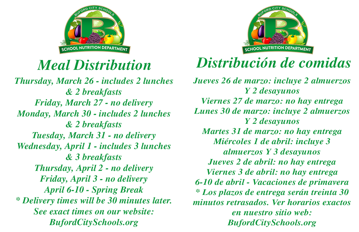 Meal Delivery Updated Times