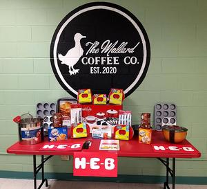 Mallard Coffee Co. table with HEB supply donation!