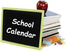 calendar, books and an apple