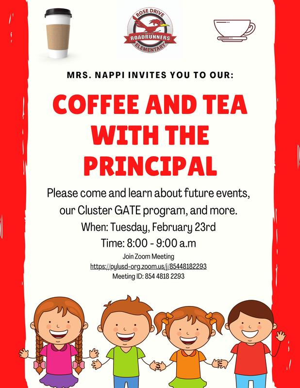 Please Join us on Tuesday February 23rd, for coffee and tea with Principal Nappi!