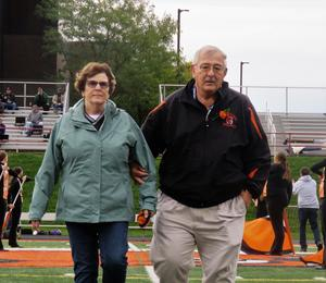Tom and Sharon Lehman are honored as the Homecoming Grand Marshals.