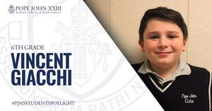 PJMS Student Spotlight Vincent Giacchi