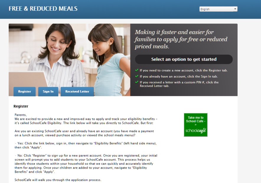 Lunch Application Site Screenshot