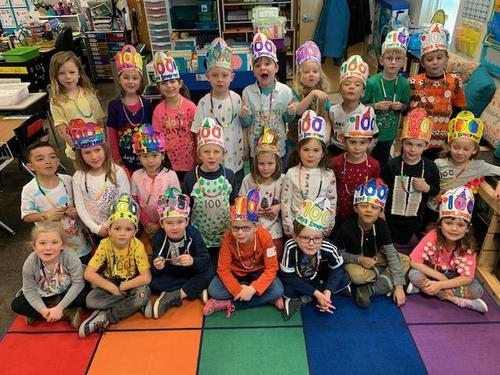 Kindergarteners on the 100th Day