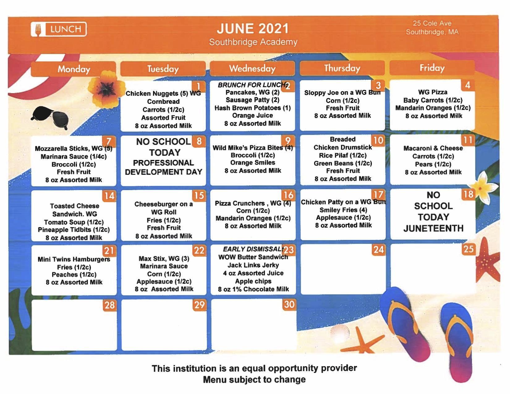 Southbridge Academy menus for June 2021
