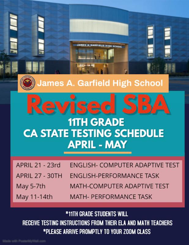 Revised 2021 GHS SBA State Testing Schedule