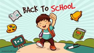 Back to School with boy putting fist in the air