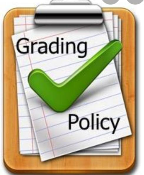 Clipboard with a green check mark that reads grading policy
