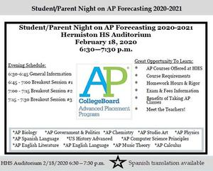 Flyer promoting an event for parents to learn about AP classes.