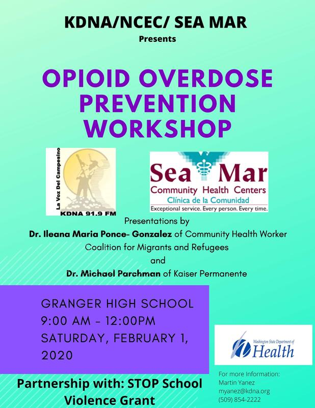 Photo of information on Opioid Workshop on February 1st from 9am-12pm