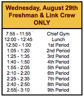 MLHS 1st Day Wed. 8-29 Freshmen and Link Crew Only