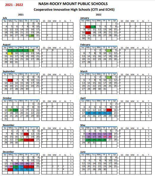 ECHS 2021-2022 Calendar