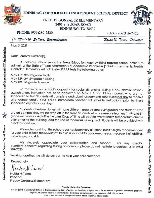 Letter to Parents - STAAR Testing - 3rd thru 5th Grade