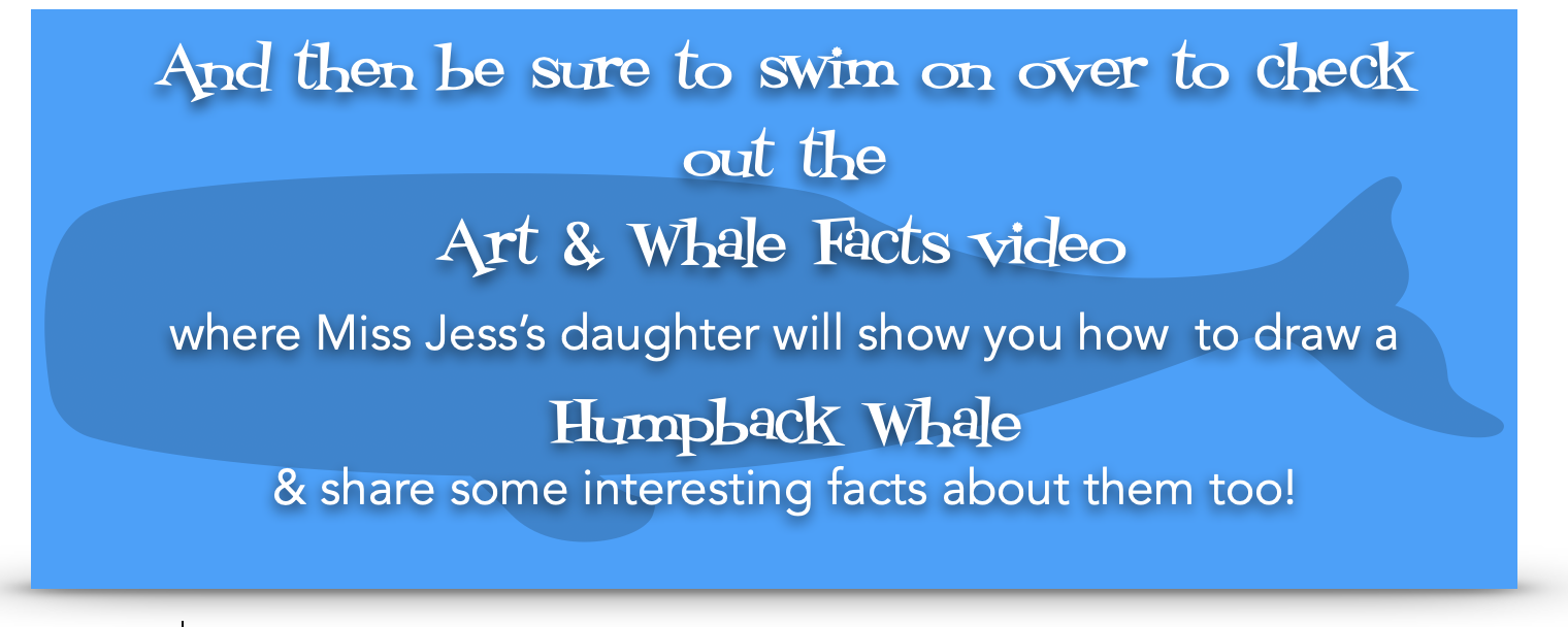 A banner inviting visitors to view a video on how to draw whales and that also shares some whale facts.