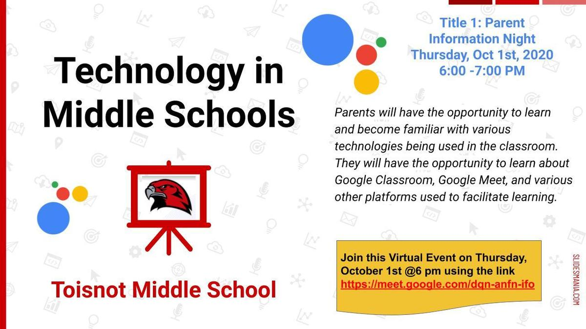 Parent Night Oct. 1 about Middle School Technology