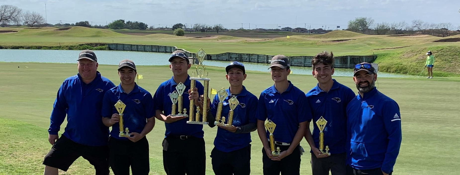 ECISD Golf Tournament, RVHS 1st Place Overall.  Pictured left to right: Coach Cory Mayes, Darian Gonzalez, Ruben Vasquez, Ethan Ayala, Julian Guevara, James Salinas, Coach Eloy Falcon
