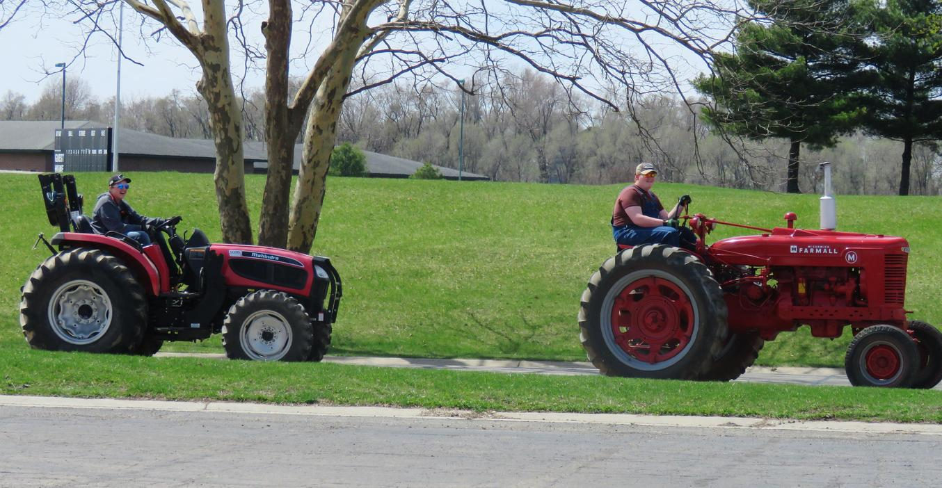 TKHS students drive their tractors to school on Farmer Day.